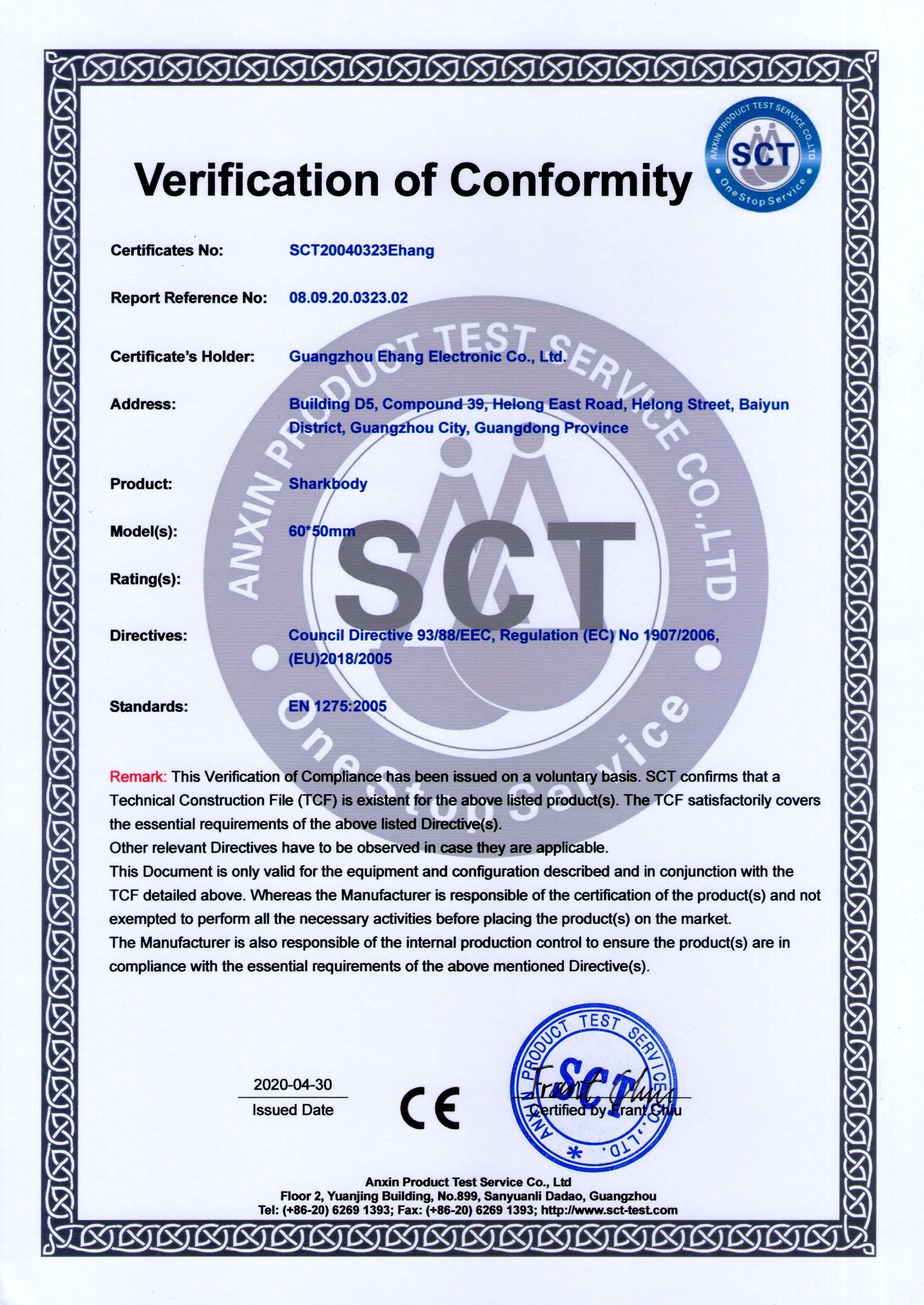 Sharkbody CE Certificate